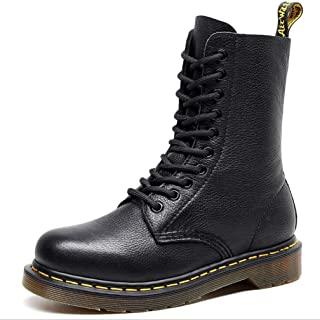 Dr. Martin unisex boots 10 holes front lace-up ankle boots litchi pattern first layer boots round head leather boots thick bottom high-top ankle boots non-slip wear-resistant boots