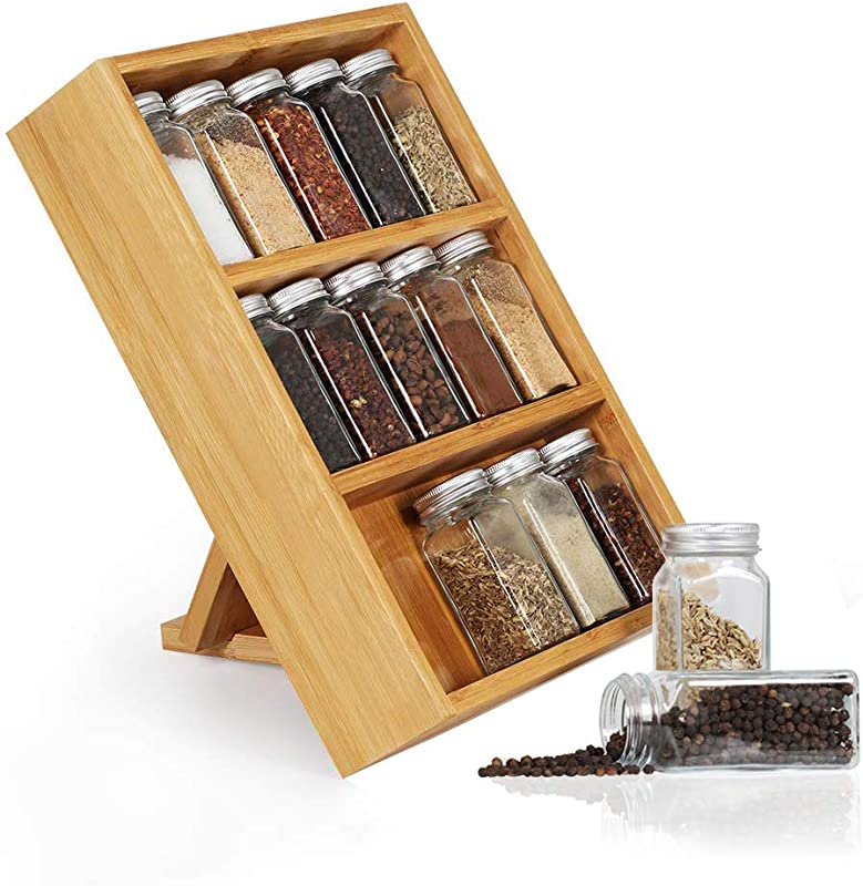Nandae Spice Rack Bamboo 15 Jar Bottles Countertop Stand Spice Rack Organizer Shelf With Marketed Labels For Kitchen