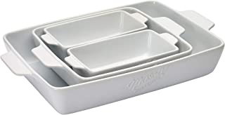 Mason Craft & More Ceramic Bakeware Collection- Rectangular, Square, Casserole, Lasagna, Baking, Roasting- 4 Piece White Ceramic Bakeware Set