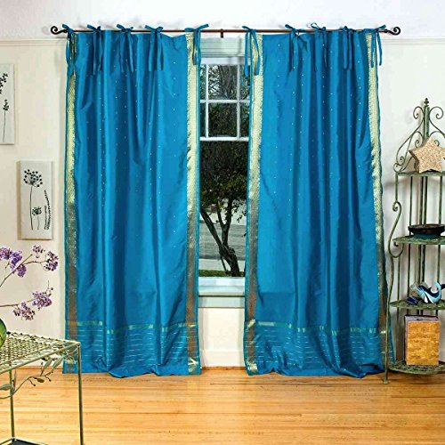 Indian Selections Turquoise Tie Top Sheer Sari Curtain/Drape/Panel - 43W x 84L - Piece