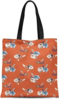 S4Sassy Orange Kiko Rose Floral Print Canvas Shopping Tote Bag Carrying Handbag Casual Shoulder Bag 16x12 Inches