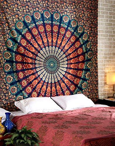 RAJRANG BRINGING RAJASTHAN TO YOU Tapiz Mandala Wall Hanging Tapestry - Tapices Azul Pavo Real Grande Hippie Colgar en la Pared Indio Hindu Etnico Boho Tapestries - Azul - 228 x 213 cm