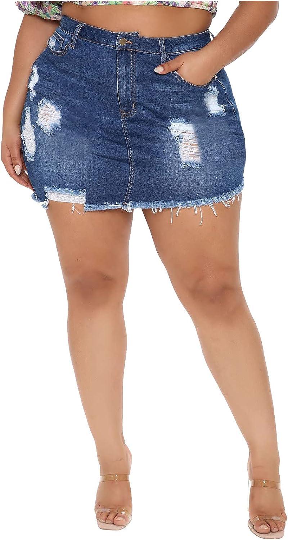 Sinohomie Women Plus Size Summer Casual High Waist Denim Pocket Hole Button Short Jeans Skirt