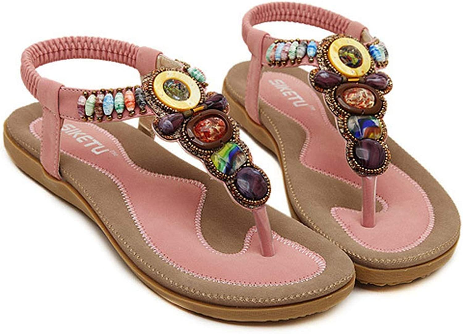 goldencar New Summer Ladies Summer Bohemia Beach Flops shoes Women shoes Sandles Sweet Beaded Clip Toe Flats