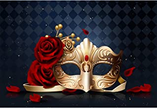 CSFOTO 10x7ft Mardi Gras Backdrop Mysterious Carnival Masquerade Background for Photography Carnival Mask Birthday Dancing Party Costume Party Rose Flowers Kids Portrait Photo Wallpaper
