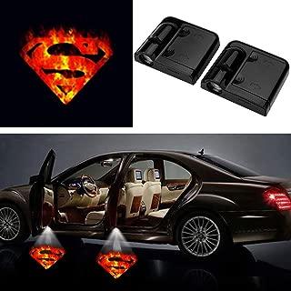 3D Fire Superman Ghost Shadow Emblems Wireless Door Sensor Lights (2pcs), No DrillingLed Laser Door Shadow Light Welcome Projector Lamps Fits Ford, Audi, VW, Dodge, Toyota, Honda (Superman) …
