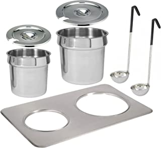 Tiger Chef Electric Food Warmer Soup Tureen Insert Kit Includes Insert, 7 Quart Inset Pot, 4 Quart Inset Pot, Both with Lid with Slot for Ladle, 2 Soup Ladles