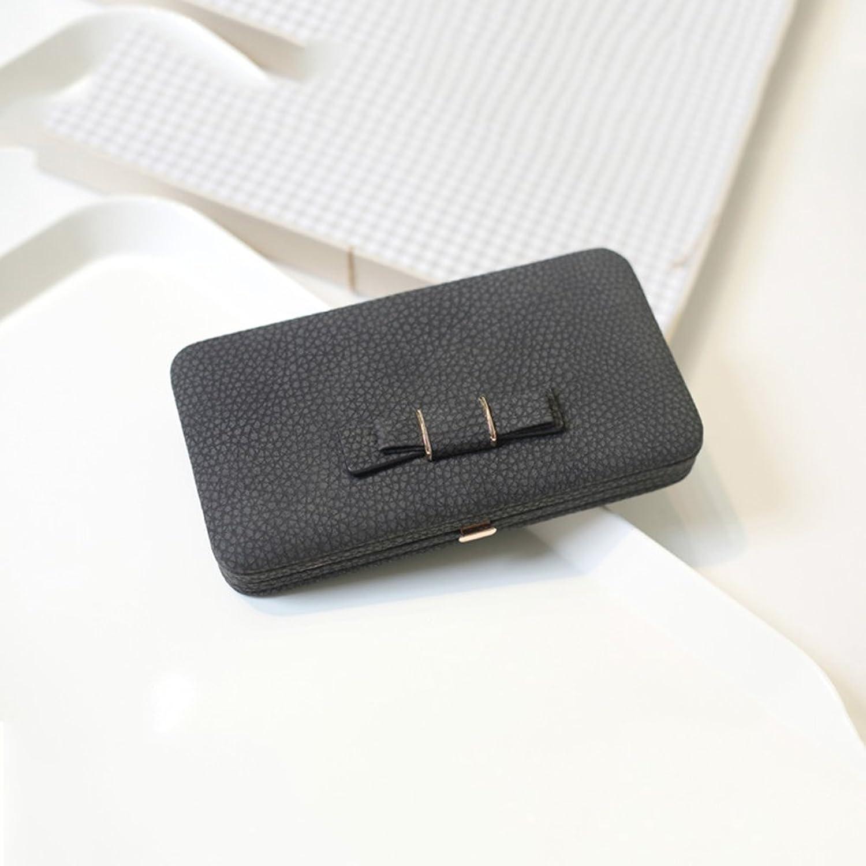 Wallets Women's purse female long mobile phone bag large capacity box bow wallet Leisure wallet ( color   Black )