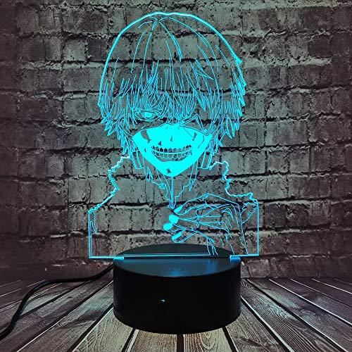 Tokyo Ghoul 3D-Illusionslampe, Ken Kaneki Gesicht LED Nachtlicht für Lesezimmer Dekor Anime Geschenk zum Geburtstag USB-Tischlampe Kinder Baby Kinder Schlaflampe (Ken Kaneki Maske)