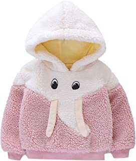Lataw Toddler Outerwear Baby Girls Winter Windproof Plush Elephant Thicken Top Cartoon Cute Pullover Hoodie Warm Tops Jacket