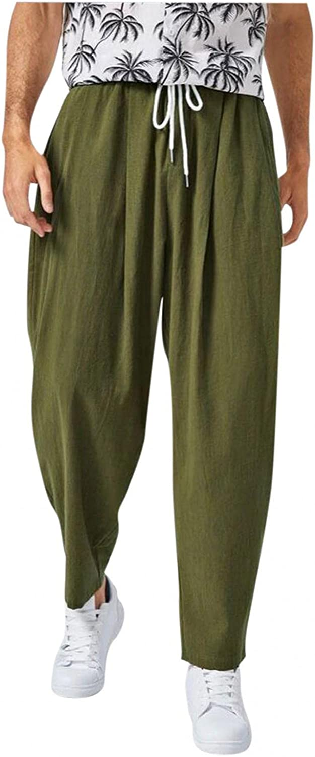 Beshion Men's Joggers Sweatpants Casual Bottom Lightweight Linen Pants Wide Leg Loose Drawstring Baggy Pants for Sports Daily