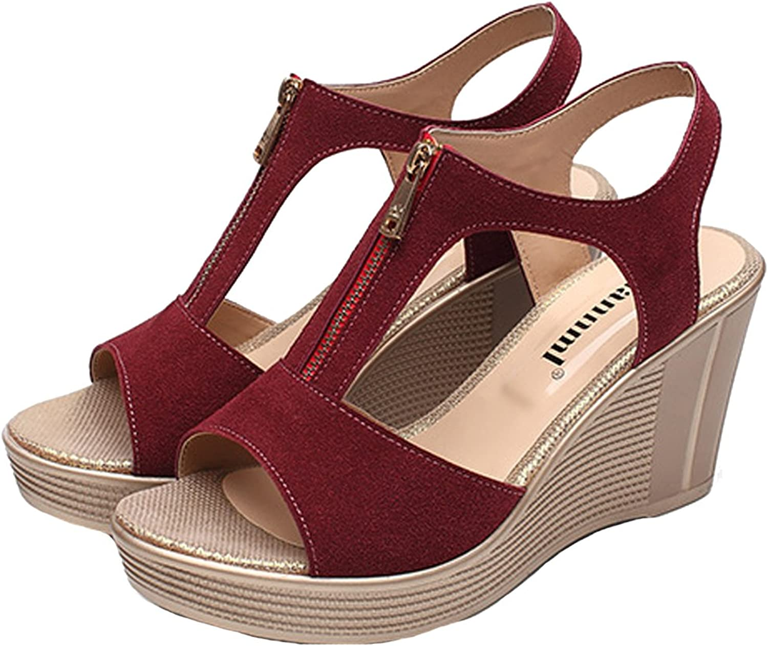 Women's T-Strap Zip Wedge Sandals