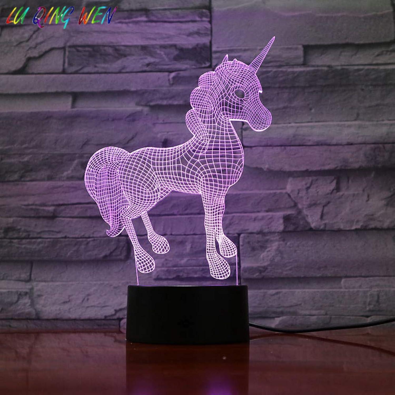 KKXXYD Unicorn Night Lamp 3D Hologram USB Touch Sensor Light Room Decoration Battery-Powered Lamp Girl Kids Bedside Led Night Light