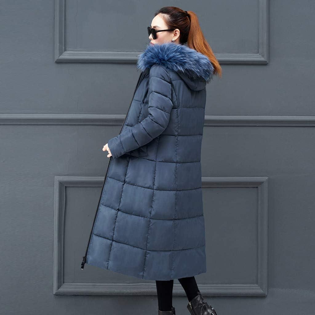 Zegeey Damen Kapuzenpullover Daunenjacke Steppjacke Langjacke Windjacke Langer Mantel Sweatjacke Outwear Winter Warm Bequem Slim Trenchcoat Blau