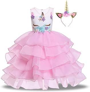 Girls Unicorn Dress Pageant Flower Costume Kids Unicorn Fancy Dress Tutu Ball Gowns
