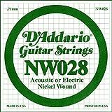 D'Addario NW028 - Cuerda individual con entorchado en níquel para guitarra eléctrica.028