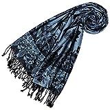LORENZO CANA Pashmina de 100% viscose pour la femme – écharpe avec les mesures de 70 x 200 cm - une étole attrayante et noble pour le printemps et l´été en bleu noir