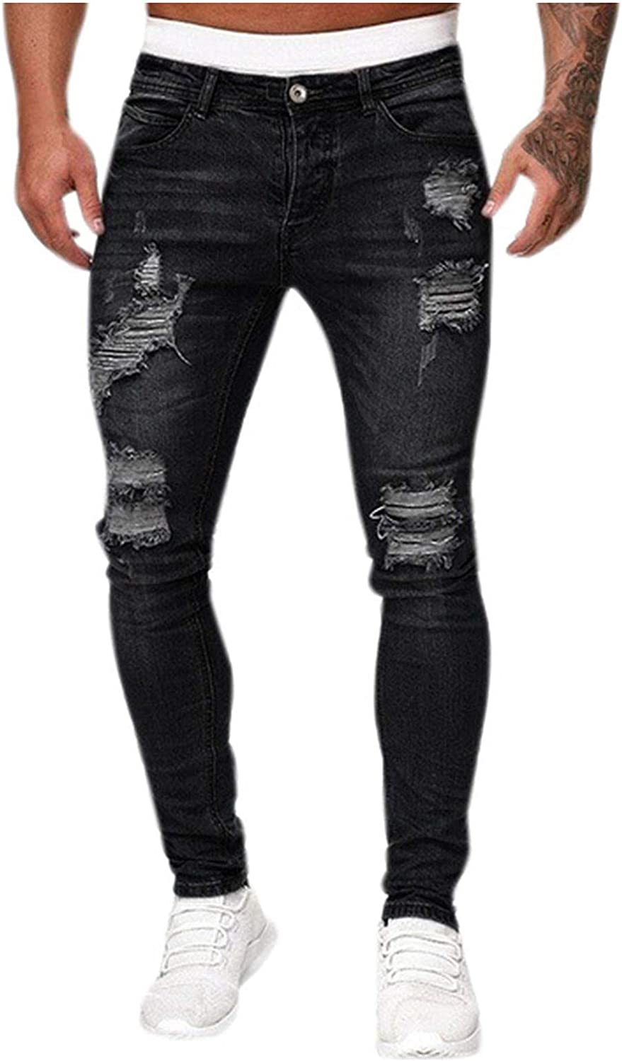 iCODOD Men's Stretchy Ripped At the price Skinny Ranking TOP2 Tapered Jeans Fit Denim Slim