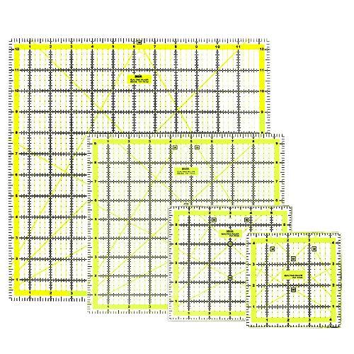 ANSIO Acryl Patchwork Lineal Set & rutschfeste Ringe, Quiltlineal mit Gitterlinie (Zoll Imperial 4,5 x 4,5, Zoll 6 x 6, Zoll 9,5 x 9,5, Zoll 12,5 x 12,5), 4er-Set