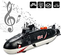 CORPER TOYS Military Ships Toy Submarine Warships Die Cast Metal Alloy Pull Back Model Shark Ship for Kids with Lights and Sounds