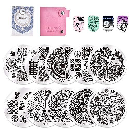 Biutee 10 Nail Plates 1 Stamper 1 Scraper Nail Art Image Stamp Stamping Plates Manicure Template Nail Art Tools