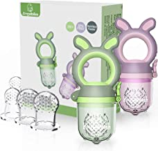 ANGELBLISS Baby Food Feeder Pacifier,Organic/Fresh Food Feeder for 3-24 Months Infant&Newborn&Toddlers Weaning ,6 Silicone Sac Teething Toy (Green/Purple 2 Pack) BPA Free