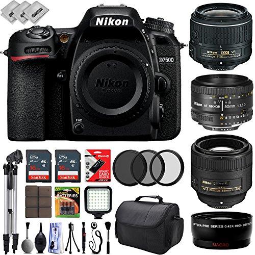 Nikon D7500 HD Digital SLR Camera w/ 4 Lens - 18 to 85mm - 32GB - 30PC...