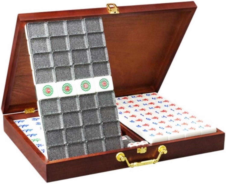 HongTeng Cristal Acrylique Mahjong Noir Argent portable Maison Voyage Loisirs Loisirs Collection de Jouets avec Une Couche de Boîte de RangeHommest en Bois Tissu Mahjong