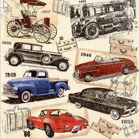 20 Servietten 33x33 cm Oldtimer Autos Classic Car Vintage Chevi