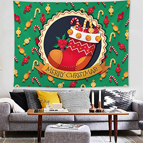 MMHJS Christmas European-Style Snow Scene Christmas Tree Elk Decorative Cloth Printed Pure Color Background Cloth Tapestry Bedroom Living Room Party Holiday Tapestry