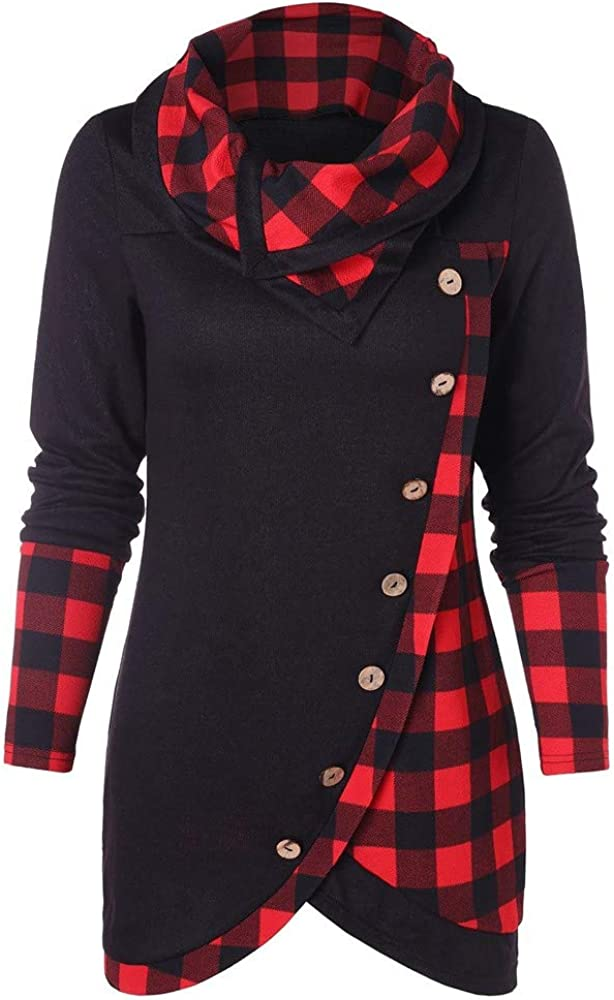 RUIVE Women's Plaid Print Blouse Hooded Button A Free shipping 5 ☆ popular Turtleneck