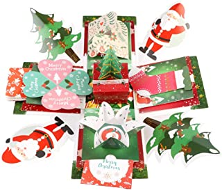 OurWarm Christmas Explosion Box Scrapbook DIY Photo Album Surprise Gift Box with DIY Accessories Kit for Birthday New Year Christmas Gifts