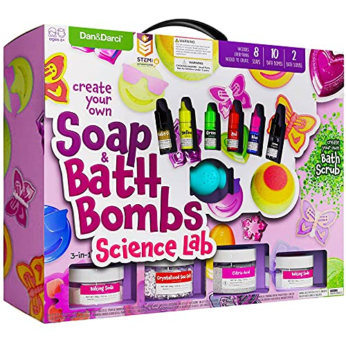 Soap & Bath Bomb Making Kit for Kids, 3-in-1 Spa Science Kit, Craft Gifts For Girls & Boys Age 6, 7, 8, 9, 10-12 Year Old Girl Crafts Kits : DIY Science Experiment Toys, Craft Gift For Kids Ages 6-12+