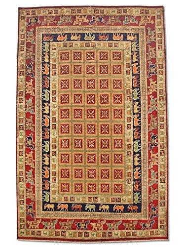 Pak Persian Rugs Handgeknüpfter Pazyryk Teppich, Burgunderrot/Rot, Wolle, Large, 202 X 314 cm