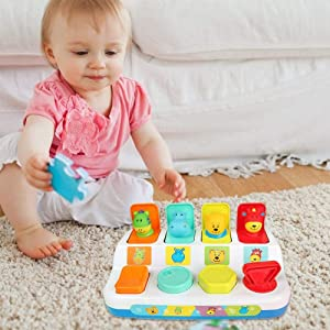 Pop-up Animals Playset  Interactive Educational Toys For Small Kids for 1-3 Years Old Baby Pop Pals
