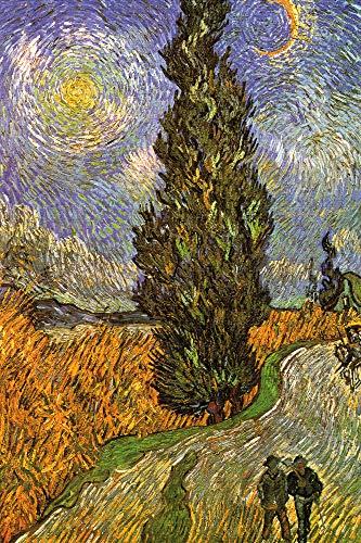 1art1 Vincent Van Gogh - Zypressenweg Unter Dem Sternenhimmel, 1890 XXL Poster 120 x 80 cm