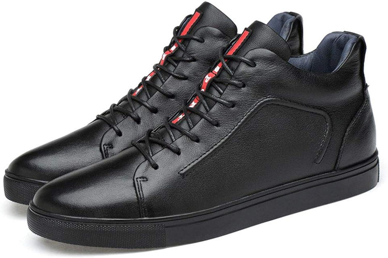 JHHXW Lederschuhe lssige Mode High-Top-Schuhe runden Kopf verschleifest Anti-Rutsch groe dünne Abschnitt atmungsaktive Dicke Abschnitt warme Herrenschuhe