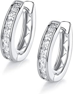 18k White Gold Plated Cubic Zirconia Created Hoop Earrings for Women