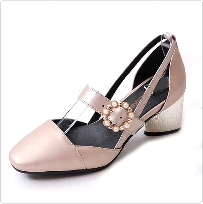 ZXCVB& Plus Size 32-45 LadiesHigh Heels Sandals Women Buckle String Bead Heel shoes Women's Fashion Office Daily Footwear gold 9.5