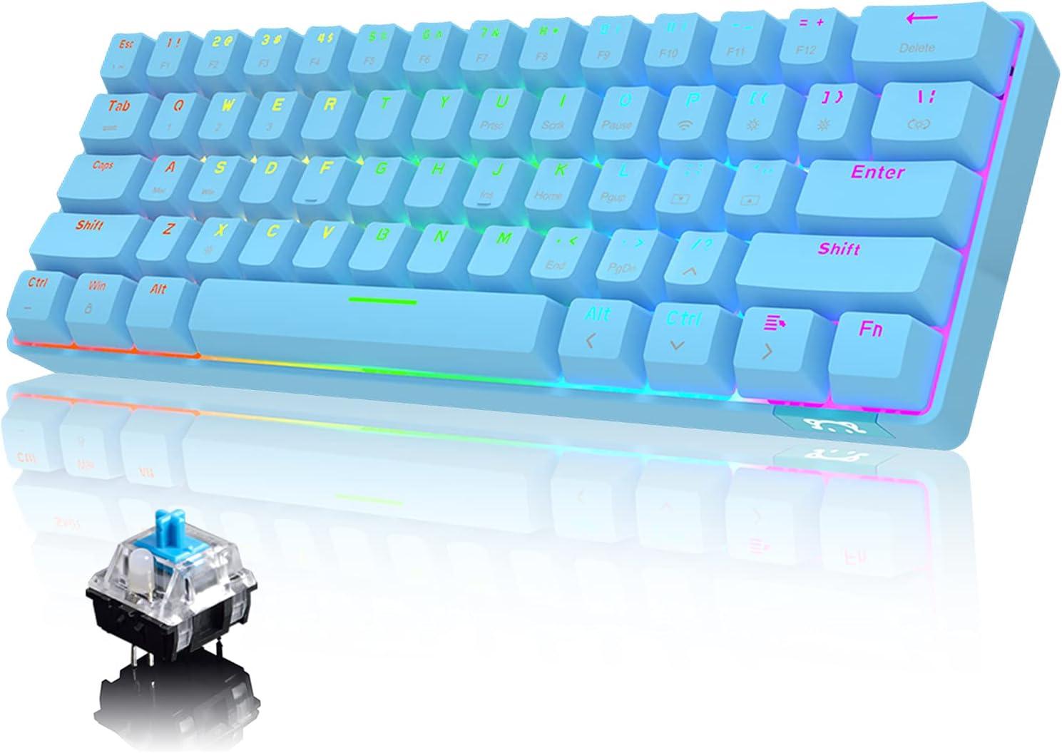 60% Teclado mecánico Cableado / inalámbrico Bluetooth 5.0 Teclado de modo dual 61 teclas RGB Rainbow LED Retroiluminado USB Type-C Teclado para juegos a prueba de agua Teclas anti-fantasma (Azul)
