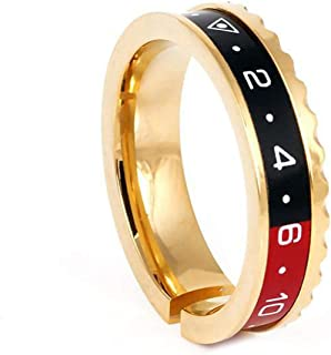 Fashion Men Jewelry 316l Stainless Steel Black Red Gold Gear Speedometer Ring Men for Party Friend Gift,A10 Blue,Black1