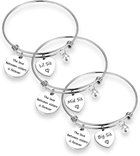 EIGSO Sister Gift The Love Between Sisters is Forever Sister Bracelet Set Sister Gift for Big sis Mid Sis Lil Sis
