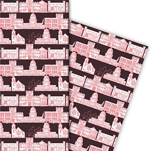 Kartenkaufrausch Architecten Cadeaupapier set 4 vellen, decoratief papier met gebouwtekeningen, roze als edele geschenkverpakking, patroonpapier om te knutselen 32 x 48 cm