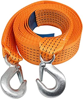 Orange Winch Tow Rope With Hooks 6613 Lb And 11023 Lb Breaking Strength For Highway Vehicle/Garbage Truck/Off-road Vehicle...