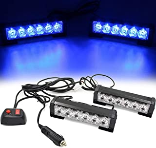 FOXCID 2 X 6 LED 9 Modes Traffic Advisor Emergency Warning Vehicle Strobe Lights for Interior Roof/Dash/Windshield/Grille/Deck Universal Waterproof (Blue)