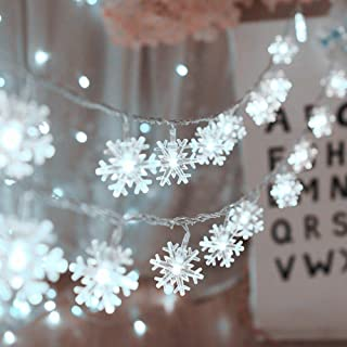 Christmas Lights,Snowflake String Lights 19.6 ft 40 LED Fairy Lights Battery Operated Waterproof for Xmas Garden Patio Bedroom Party Decor Indoor Outdoor Celebration Lighting, Warm White