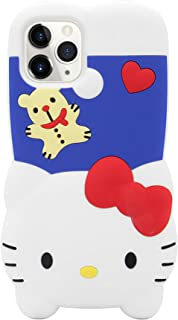 MC Fashion iPhone 11 Pro Max Case, Cute 3D Creative Fun Cartoon Case, Full-Body Protective Shockproof Soft Silicone Case Cover for Apple iPhone 11 Pro Max 6.5 inch 2019 (Hello Kitty)