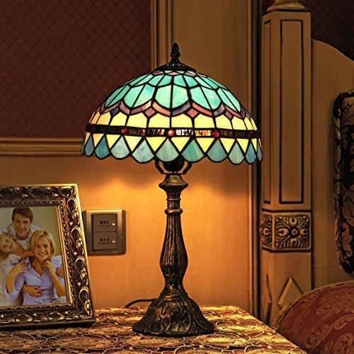 12-Zoll-Weinlese-Hirten-Mittelmeer-blaue Feder-Art-Buntglas Tiffany-Art-Tabellen-Lampen-Schlafzimmer-Lampen-Nachttischlampe