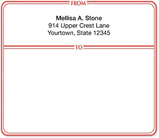 Red Double Border Personalized Shipping Labels
