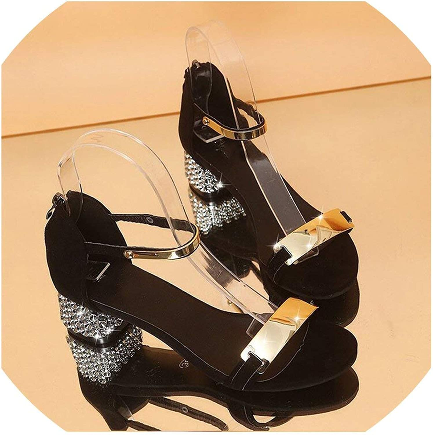 Luxury Crystal Summer Women Sandals Open Toe shoes Flicker Square Heel Gladiator shoes